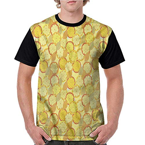 - Lightly Summer Casual O-Neck,Yellow and Brown,Citrus Fruit Lemon S-XXL Baseball Short Sleeve