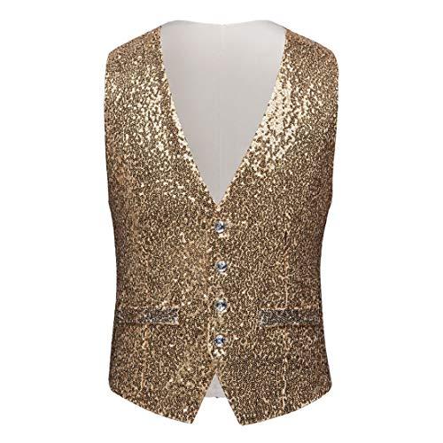 PYJTRL Mens Fashion Full Sequins Paillette Waistcoat (Gold, US