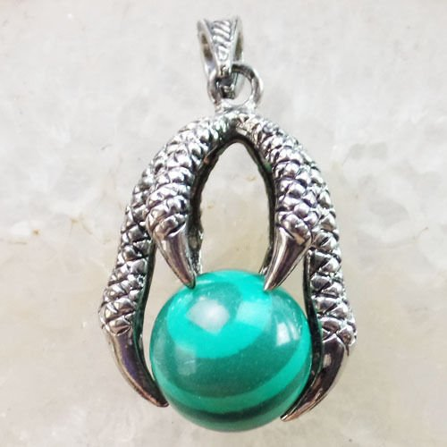 Malachite Eagle - man-made malachite - Pretty Tibetan Silver Eagle Claw Inlay Mixed Gemstone Ball Pendant Bead XLZ-574