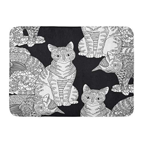 (GTdgstdsc Doormats Bath Rugs Outdoor/Indoor Door Mat High Detail Pets in Zentangle Adult Coloring Page Cats for Antistress Therapy Zendoodle Bathroom Decor Rug 16