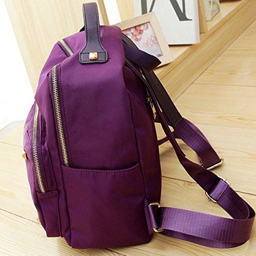 Mujer Ocio Paño De Nylon Mochila Nuevo Estilo Popular Viaje Bolso Del Estudiante Purple