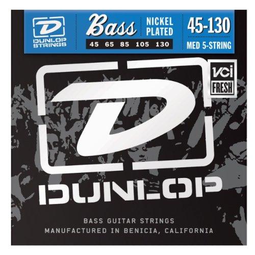Dunlop DBN45130 Nickel Wound Bass Strings, Medium 5-String, .045–.130, 5 Strings/Set