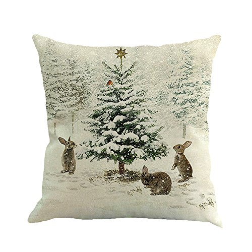Chenway Cotton Linen Pillow Covers,Square Printing Dyeing Cushion Cover Decorative Throw Pillow Case Sofa Bed Home Decor 18 X 18 Inch (E)