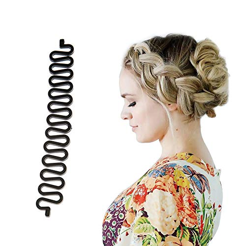 Jonerytime Hair Braiding Tool Roller with Hook Magic Hair Twist Styling Bun Maker Black