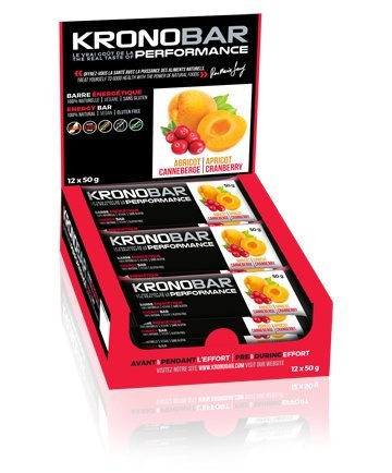 KRONOBAR Energy bar, 100% Natural Performance, Apricot Cranberry, 12 count