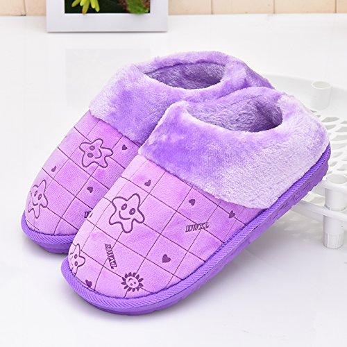 Fankou inverno pacchetto comfort con Dot scarpe di cotone uomini e donne paio di pantofole di cotone home pianale interno caldo ,43-44, pacchetto a strisce con rosso