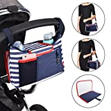 Stroller Organizer Bag, Rainbrace 2 in 1 Waterproof Universal Fit Stroller Pram Buggy Organizer with A Removable Baby Diaper Changing Pad, 2 Cup Holders for iPhone, Diapers, Toys and Accessories