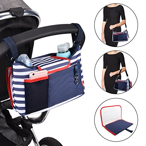Safe&Care Stroller Organizer Universal Fit Bonus A Removable Baby Diaper Changing Pad, 2 Cup Holders To Keep Water Bottles, Large Waterproof Buggy Organizer for iPhones, Diapers, Toys and Accessories