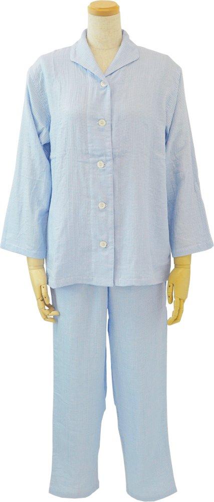 内野 レディースパジャマ ブルー S マシュマロガーゼ ギンガムチェック 素肌に心地良い RPZ18313 S B B079KH3BCP Small|ブルー ブルー Small