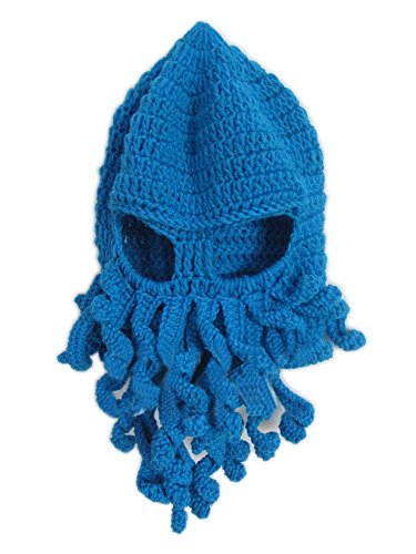 Mens Knit Hat Winter Funny Octopus Beard Beanie Hat Face Mask Blue2 (Funny Face Masks)