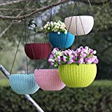 Nursery Hub 3 Pcs Hanging Baskets Rattan Waven Flower Pot Plant Pot with Hanging Chain for Houseplants Garden Balcony Decoration in Multicolor