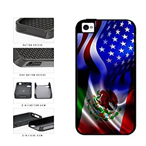 Mexico and USA Mixed Flag 2-Piece Dual Layer Phone Case Back Cover Apple iPhone 4 4s