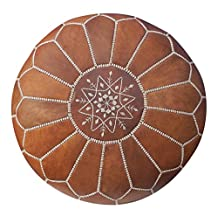 La Bohemia   Beautiful Handmade Real Leather Footstool Pouf from Marrakech   Colour Tan with White Stitching   Delivered unstuffed