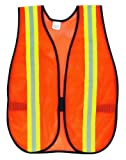 Save on MCR Safety V201R Polyester Mesh General Purpose Safety Vest with 2-Inch Lime/Silver Reflective Stripe, Fluorescent Orange and more