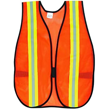 MCR Safety V201R Polyester Mesh General Purpose Vest With 2 Inch Lime Silver