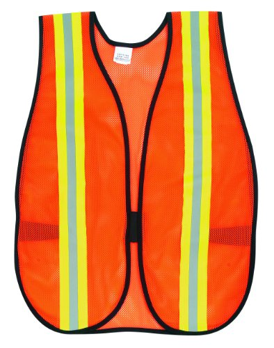 MCR Safety V201R Polyester Mesh General Purpose Safety Vest with 2-Inch Lime/Silver Reflective Stripe, Fluorescent Orange -