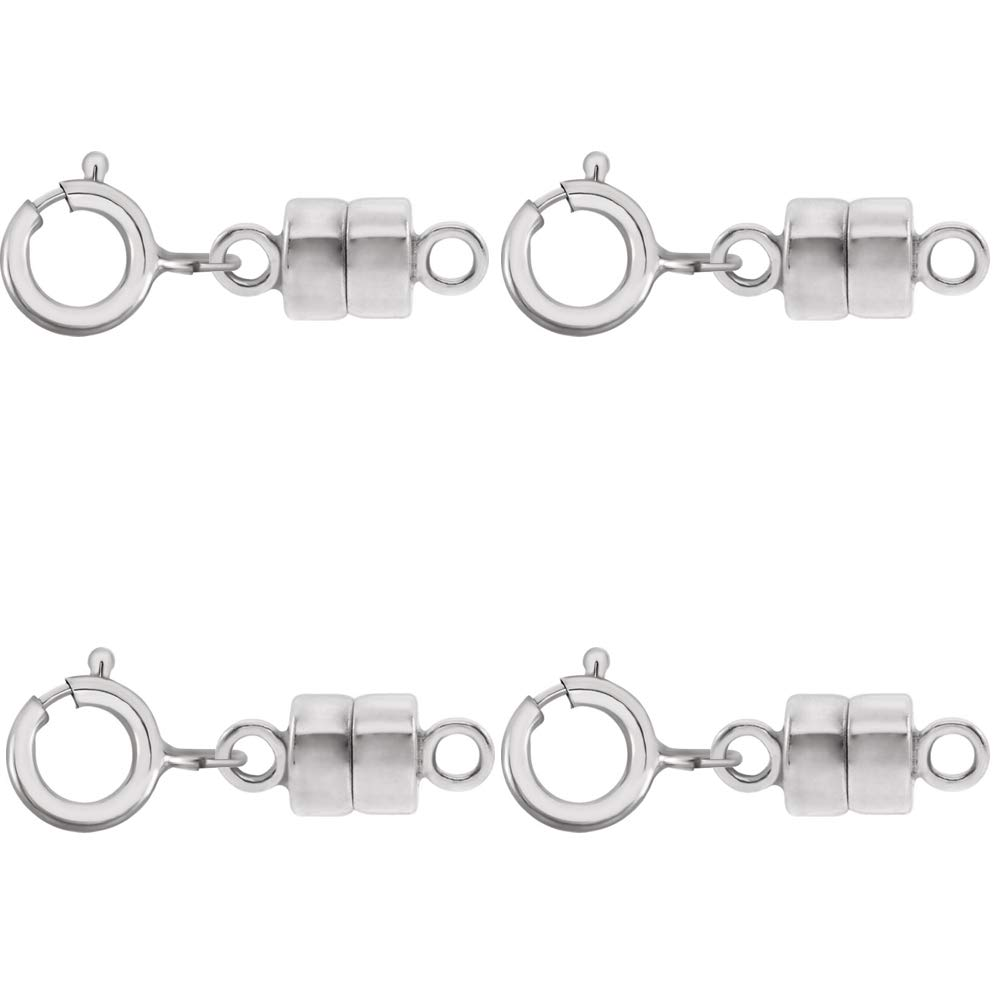 4 - New Solid 14K White Gold Round Magnetic Clasps w/ 14K White Gold 5mm Spring Ring Clasp for Necklaces, Bracelets, and Anklets. - Jewelry By Sweetpea by Jewelry By Sweetpea (Image #1)