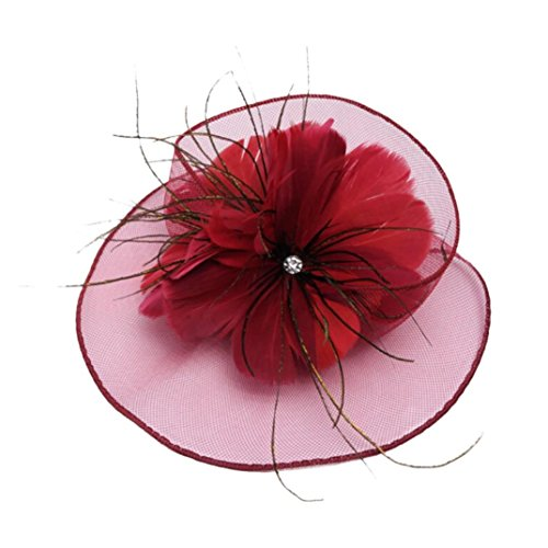 Sunyastor Fashion Women Fascinator Mesh Hat Flower Cocktail Party Headdress Wedding Bridal Headpiece Linen Hat (Wine Red, One Size) ()