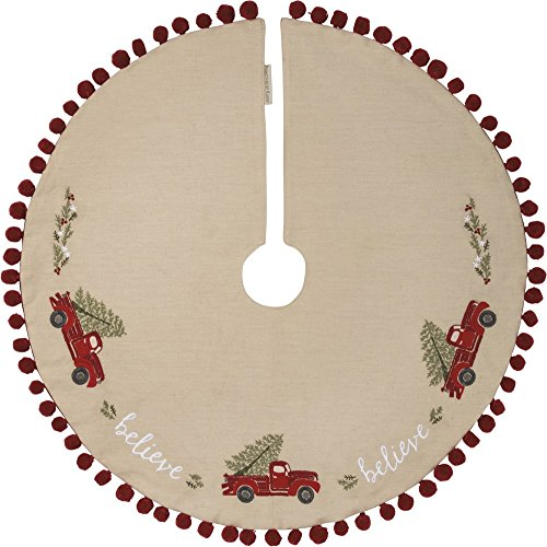Holly Christmas Tree Skirt - Primitives by Kathy Embroidered Tree Skirt, Believe-Truck
