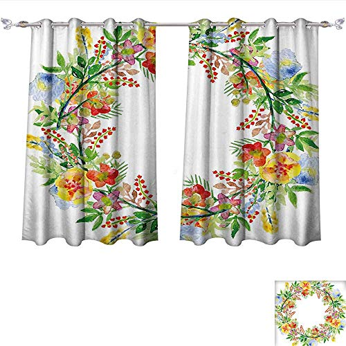 (Qinqin-Home Window Curtain Fabric Flowers Wreath with Branches Flowers and Leaves Save The Date Card Invitation Print Multicolored Drapes for Living Room (W63 x L45 -Inch 2 Panels))