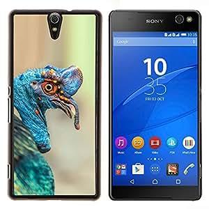 Turquía Tropical Blue Bird Naturaleza Pascua- Metal de aluminio y de plástico duro Caja del teléfono - Negro - Xperia C5 E5553 E5506 / C5 Ultra