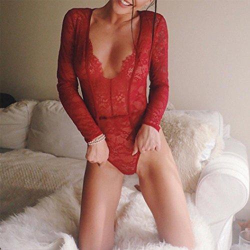 Beaucoup De Femmes Babydoll Robe En Dentelle Lingerie Sous-vêtements De Vêtements De Nuit Vêtements De Nuit # 19 L Justaucorps Rouge