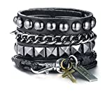 Mealguet Jewelry Gothic Punk Hip hop Multi-strand Multilayered Leather and Chains Boho Stacked Bracelets for Men Women