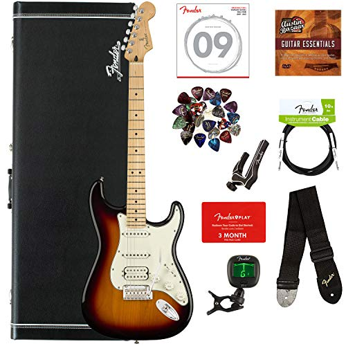 (Fender Player Stratocaster HSS, Maple - 3-Color Sunburst Bundle with Hard Case, Cable, Tuner, Strap, Strings, Picks, Capo, Fender Play Online Lessons, and Austin Bazaar Instructional DVD)