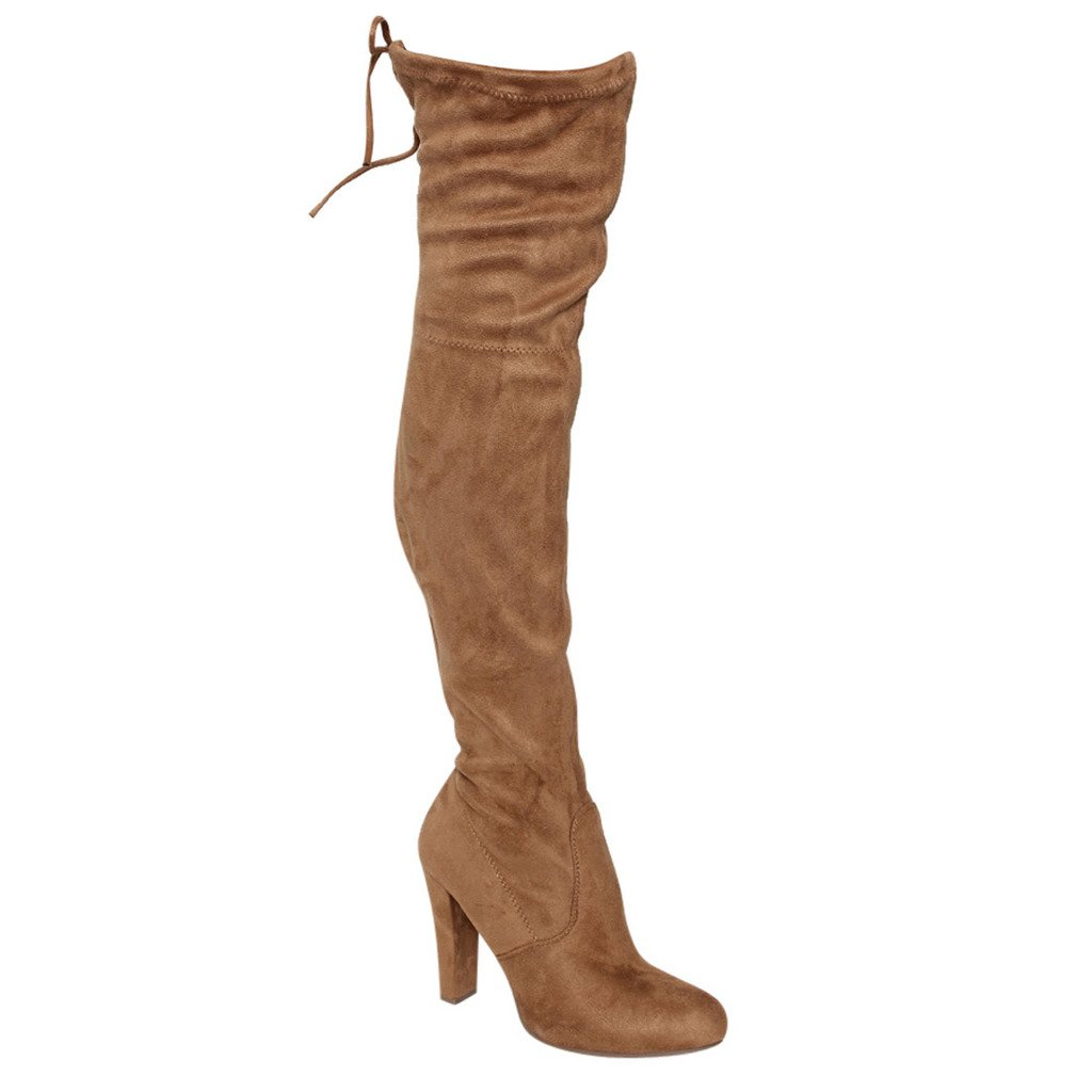 C. Longford Women's Diva Thigh High Over The Knee - Drawstring Block Chunky Heel Pointy Round Toe - Stretchy Thigh High Snug Fit Boots B01MSPPBWD 8.5 B(M) US|Tan Suede
