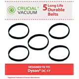 5 High Quality 10-MM Geared Belts for Dyson DC17 Vacuums; Compare to Dyson Part No. 911710-01 (91171001); Designed & Engineered by Think Crucial