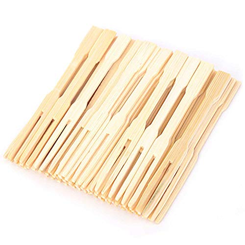 KINGZHUO 3.5 Inch 80 Pcs Disposable Wooden Fruit Forks Sticks Bamboo Forks Fruit Picks BBQ Sticks Household Dessert Forks Sandwiches Birthday Wedding Party Supply 0.7 x 9 CM -