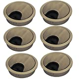 uxcell 53mm Zinc Alloy Wire Cable Hole Covers Bronze Tone 6pcs for Computer Desk Table