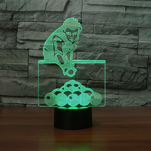 3D Play Billiards Night Light 7 Color Change LED Table Desk Lamp Acrylic Flat ABS Base USB Charger Home Decoration Toy Brithday Xmas Kid Children Gift ()