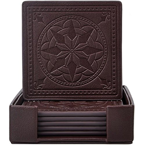365park Drink Coasters, PU Leather Coasters Set of 6 with Holder for Drinks Glasses-Functional and Decorative, Coffee