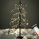 YUNLIGHTS 5ft Snow Dusted Tree Lights 75 LED Light Artificial Tree with Remote Control 8 Modes for Home Garden Party Wedding Decorations (Warm White)