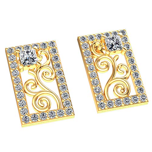 (JewelWeSell 10K Gold Earrings For Women 1.1 Cttw Natural Diamonds (K Color, I1 Clarity) Princess Cut Rectangle Scroll Earrings)
