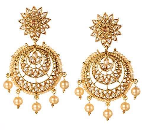 Bindhani Bollywood Wedding Gold Plated Indian Kundan Chandbali Faux Pearl Drop Earrings Jewelry For Women ()