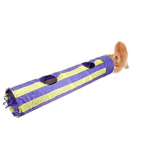 Tancurry Túnel Plegable para Gatos, Diseño de Rayas, Juguetes para Mascotas, Juguetes para