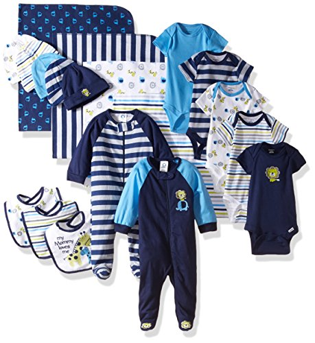 Gerber Baby Boys' 19 Piece Baby Essentials Gift Set, Safari, Newborn ()