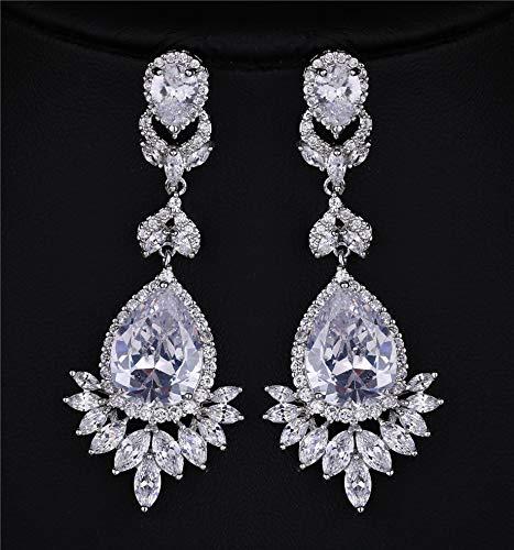 Luxury Vintage Queen Fancy Cubic Zircon Heavy Dangling Earrings Wedding Jewelry Women Earrings Bijoux Hc10058 - Champagne Bijoux