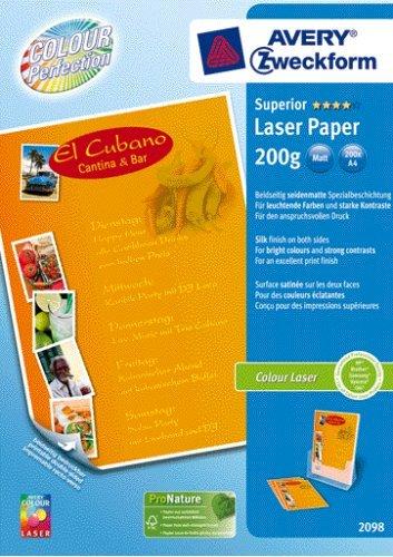 Avery Zweckform 2098 Superior Colour Laser Papier, DIN A4, beidseitig beschichtet - matt, 200 g/m², 200 Blatt