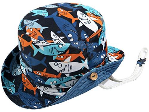 Baby-Boy Sun-Hat with Strap Toddler Summer Beach Cap