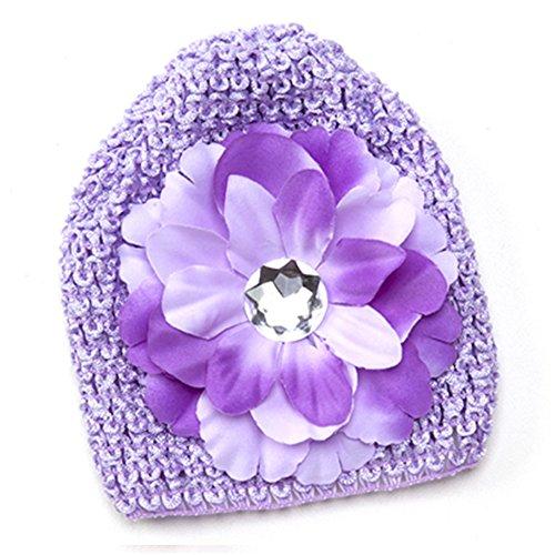 Flower Embellished Hat (Baby Girl Infant Crocheted Hat Beanie Embellished with Matching Flower (Purple))