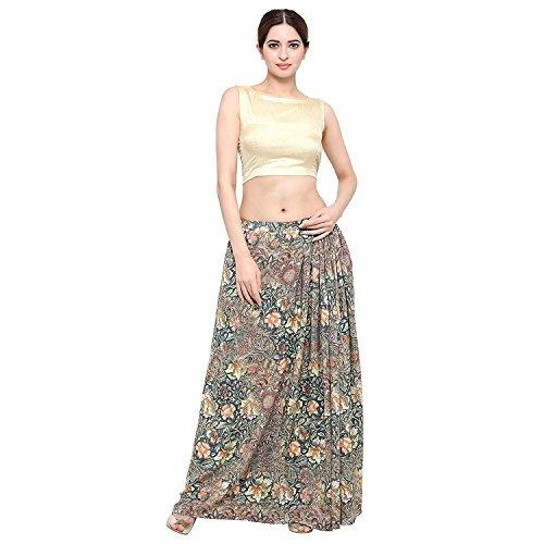 Indian Handicrfats Export Admyrin Women Dark Grey Crepe Digital Printed Skirt