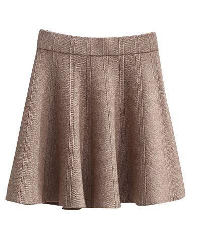 Haute lastique Yonglan Chameau Jupe Coupe Courte Fashion Slim Taille Jupe Jupe Taille Femme Plisse BwwxYIR