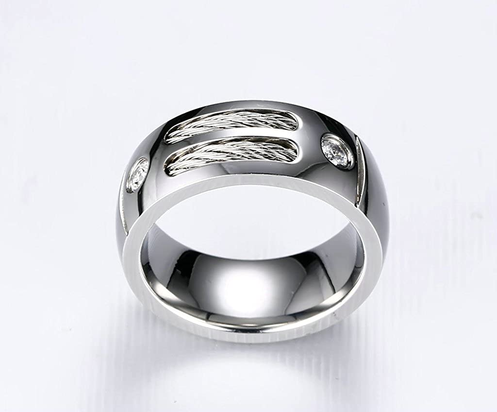 MoAndy Anniversary Ring Stainless Steel Ring Men Wedding Ring Circle