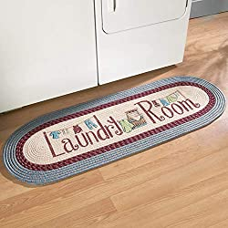 Collections Etc Braided Laundry Room Floor Runner Rug with Blue and Burgundy Border, 20 x 48, Blue