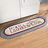 """laundry mudroom ideas Collections Etc Braided Laundry Room Floor Runner Rug with Blue and Burgundy Border, 20"""" x 48"""", Blue"""