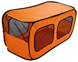 Pet Life Dual Window' Rectangular Mesh Wire-Folding Collapsible Travel Lightweight Multiple Pet Dog Crate Tent, One Size, Orange