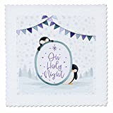 3dRose Uta Naumann Sayings and Typography - Oh Holy Night-Wintry Xmas Snow Penguin Illustration and Typography - 25x25 inch quilt square (qs_275000_10)